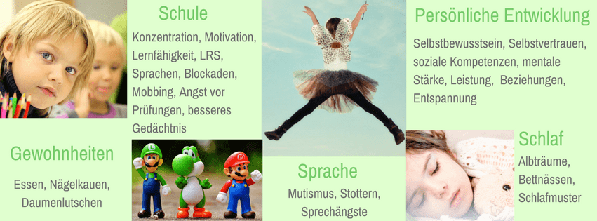Hypnose, Kinder, Sprache, Schlafstörung, Albträume, Einnässen, Selbstbewusstsein, Selbstwert, Konzentration, Blockaden, Ängste